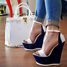 Tendance chausseurs : White and Navy Wedge Sandals Ankle Strap Open Toe Platform Shoes image 1 Wedge Shoes, Shoes Heels, Blue Wedges, Strappy Shoes, Footwear Shoes, Leather Sandals, Pretty Shoes, Beautiful Shoes, Fashion Handbags
