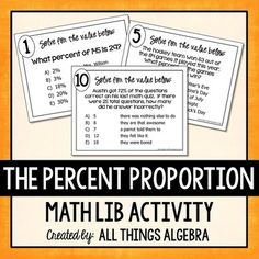 Percent problems task cards and recording sheet freebie middle percent proportion math lib fandeluxe Choice Image