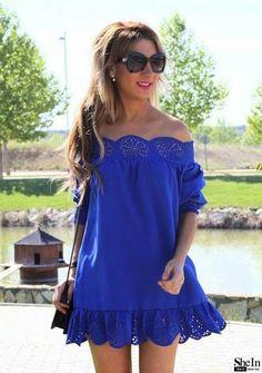 Blue Off The Shoulder Peplum Hem Dress -SheIn(Sheinside) Vintage Dresses, Nice Dresses, Casual Dresses, Short Dresses, Classy Summer Outfits, Casual Outfits For Moms, Girls Fashion Clothes, Women's Fashion Dresses, Backless Mini Dress