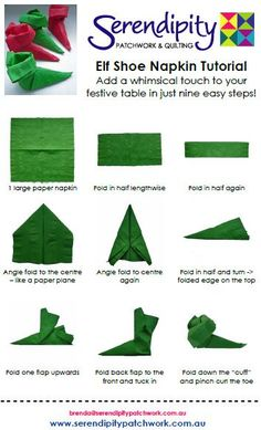 15 Most Easiest DIY Christmas Napkins To Adorn Your Christmas Table Elf Shoe Napkin Tutorial Diy Christmas Napkins, Christmas Napkin Folding, Paper Napkin Folding, Paper Napkins, Napkin Origami, All Things Christmas, Christmas Fun, Holiday Fun, Holiday Dinner