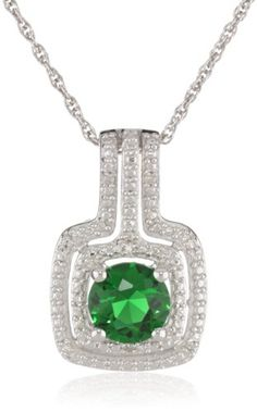 """Sterling Silver Simulated Emerald and Diamond-Accented Pendant Necklace, 18"""" Amazon Curated Collection,http://www.amazon.com/dp/B00CE4RFPI/ref=cm_sw_r_pi_dp_44PKsb1X9Q3X4RHC"""