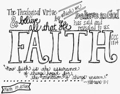 Printable notes for the three Theological Virtues; faith hope and love and ideas for making them practical for kids