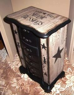 PRIMITIVE WOOD RUSTIC FARMHOUSE CRACKLE JEWELRY BOX SIMPLE BLESSING STAR DECOR..... Great Idea! Know kinda how I want to do the dresser now!!!!