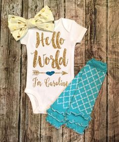 Hello World Old Gold and Aqua Personalized Baby Onesie - BellaPiccoli
