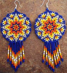 Mexican Huichol Beaded Star earrings by Aramara on Etsy Seed Bead Jewelry, Bead Jewellery, Seed Bead Earrings, Beaded Earrings, Beaded Jewelry, Star Earrings, Native Beading Patterns, Seed Bead Patterns, Peyote Patterns