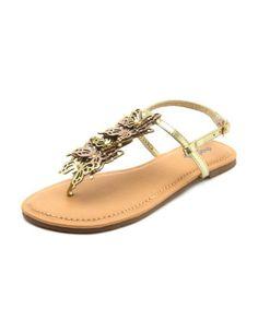 metallic butterfly t-strap sandal <3