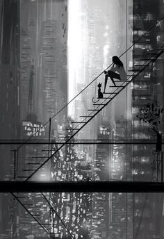 Wondeful Black and White Illustration! Beautiful Art, looks like New York City and reminds me of Breakfast at Tiffanys Art Plastique, Belle Photo, Oeuvre D'art, Black And White Photography, Amazing Art, The Dreamers, Fantasy Art, Cool Art, Concept Art