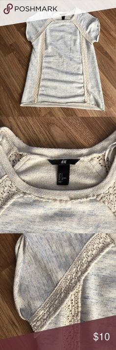 H&M tunic Size small short sleeve sweat shirt tunic with lace detail. H&M Tops