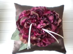 Wine Peony Ring Bearer Pillow in Chocolate by DaniCalve on Etsy, $22.00