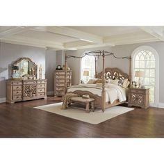 5 pc Ellian II collection antique linen finish wood queen canopy... ($2,701) ❤ liked on Polyvore featuring home, furniture, beds, wood bed, queen canopy bedroom set, queen bed, wooden canopy bed and queen headboard