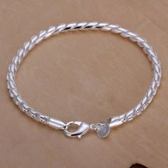 Small Twisted Rope Women's 925 Silver Plated Bracelet