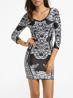 Scoop Neck Dacron Printed Bodycon-dress Only $25.95 USD More info...