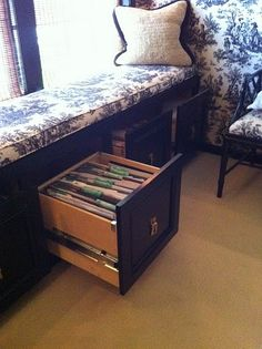 Repurpose idea- Turn a window seat into functional built-in file cabinets.  I TOTALLY have the cabinet for this!!!! (And it's already in my office....holding a TV)