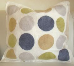 Felted spotted cushion Textile Products, Vibrant, Felt, Cushions, Textiles, Throw Pillows, Future, Chic, Natural