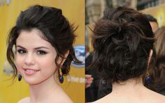 The gorgeous Miss Gomez wore a touseld updo with face framing curls that showed off her open neckline and blue drop earrings. This updo is easily achievable with bobby pins and flexible hold hairspray.