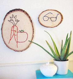 "these embroidered logs are inspired by the charming lino prints of hugo guinness. i wanted my father's christmas gift a ""portrait-through-objects"" (he loves gardening and he always loses his glasses). do not be dissuaded by the power drill; these are super easy to make. they are fast and enjoyable, a good movie time or rainy day project. have fun!! – kate  Read more at Design*Sponge http://www.designspongeonline.com/2009/12/diy-project-embroidered-logs.html##ixzz11DBzq2PR"