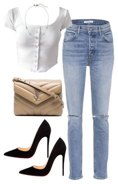"""""""Untitled #4734"""" by dkfashion-658 ❤ liked on Polyvore featuring GRLFRND, Yves Saint Laurent and Christian Louboutin"""