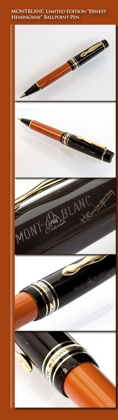 MONTBLANC Limited Edition Ernest Hemingway Ballpoint Pen - Writers' Edition (resin body, gold-plated trim) - 1992 / Germany