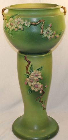 Roseville Pottery Apple Blossom Green Jardiniere and Pedestal .