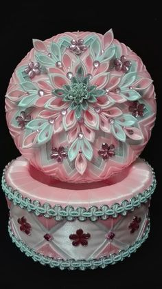 Ribbon Art, Ribbon Crafts, Flower Crafts, Folded Fabric Ornaments, Quilted Ornaments, Handmade Jewelry Box, Handmade Christmas Tree, Christmas Balls Decorations, Ornament Box