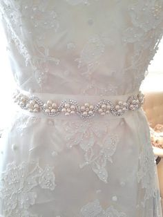Items similar to Pearl and Rhinestone Bridal Sash Statement Belt for Wedding or Formal on Etsy Bead Embroidery Patterns, Couture Embroidery, Hand Embroidery Designs, Beaded Embroidery, Bridal Sash Belt, Wedding Dress Sash, Wedding Belts, Rhinestone Wedding Dresses, Bridal Jewelry