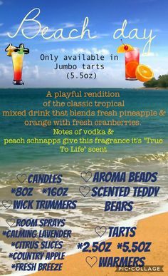 Tropical Mixed Drinks, Country Scents Candles, Aroma Beads, Peach Schnapps, Fresh Cranberries, Beach Day, Scented Candles, Wicked, Fragrance