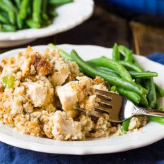 Chicken and Stuffing Casserole with chunks of white chicken meat in a creamy stuffing mixture with onion, celery, and mushrooms.