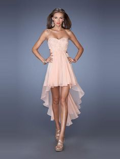 Backless Pink Sweetheart High Low Chiffon A Line Cocktail Homecoming Dress Clf0019