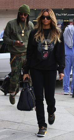 "Ciara and Future wearing Air Jordan 5 ""Olive"" and Spizike ""Maize yellow"""