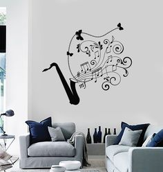 Wall Decal Saxophone Jazz Music Art Musical Instrument Vinyl Stickers (ig2881)