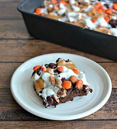 Kraft Halloween Monster Munch Brownie Bars Recipe #KraftRecipes #ad