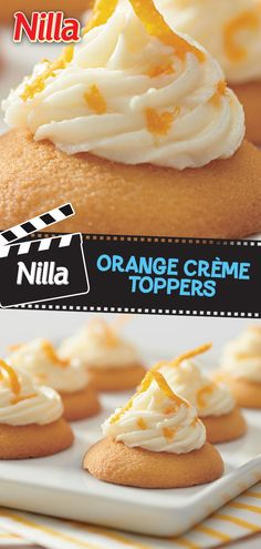 NILLA Orange Creme Toppers Whip up these light and dreamy NILLA Orange Creme Toppers on a hot summer night when you're craving something sweet and simple. Beat cream cheese, butter, orange zest and orange juice until well blended. Gradually add in 2 cups Summer Snack Recipes, Summer Desserts, Easy Desserts, Delicious Desserts, Yummy Food, Tasty, Yummy Treats, Sweet Treats, Cookie Recipes