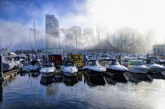 Coal Harbour, Vancouver, BC in the fog by jstewart007, via Flickr