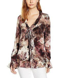 Small, Multicoloured (Moody Leaves), Ghost London Women's Lara Long Sleeve Blous
