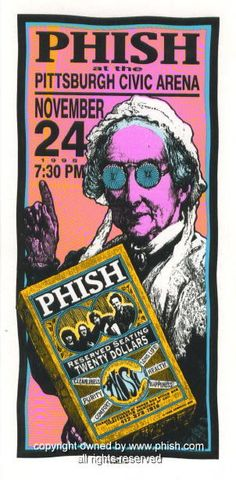 """Phish (click image for more detail) Artist: Mark Arminski Number: MA-056 Venue: Pittsburgh Civic Arena Location: Pittsburgh, PA Concert Date: 11/24/1995 Size: 4"""" x 8"""" Condition: Mint Notes: this silks"""