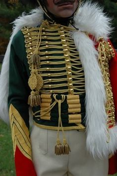 Close up view of a replica French Imperial Guard Chasseur a cheval uniform, circa 1809.
