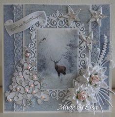 Voorbeeldkaart - Kerstkaart met hert, - Categorie: Scrapkaarten - Hobbyjournaal uw hobby website