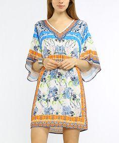 Loving this Blue & Orange Scarf Print Smocked-Waist Shift Dress on #zulily! #zulilyfinds