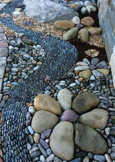 25 River Rock Garden Ideas for Beautiful DIY Designs – Mary C. Kramer 25 River Rock Garden Ideas for Beautiful DIY Designs Garden pebble mosaic by Graham Fry at Winding Path Landscaping With Rocks, Front Yard Landscaping, Modern Landscaping, River Rock Landscaping, Cheap Landscaping Ideas, Landscaping Jobs, Landscaping Company, Landscaping Plants, Landscaping Edging