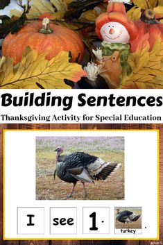 This is a great resource to work on core vocabulary, building sentences, and math skills. I use it in my K-1 self-contained classroom. My students LOVED this activity.  So useful in the classroom for vocabulary development, counting, and sentence formation! #Thanksgiving #fall