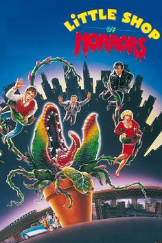 """Little Shop of Horrors - a musical remake of an 1960 Horror movie. This version is chock full of quirky, campy musical fun. Steve Martin performing """"The Dentist"""" song is hilarious Horror Movie Posters, Horror Dvd, Horror Movies, Steve Martin, 80s Movies, Great Movies, Childhood Movies, Comedy Movies, Awesome Movies"""