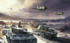 Panzer V's and VI on the East Front with FW190 of JG 54 overhead