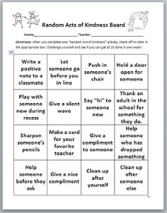 Confessions of a School Counselor: Take Time To Be Kind-- Random Acts of Kindness BINGO