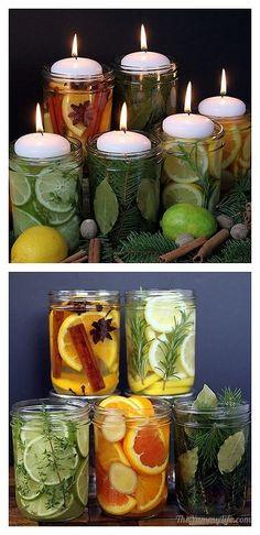 Freeze Ahead Natural Room Scent Jars. Scents: Orange, Cinnamon Spice Lemon, Rosemary Vanilla Lime, Thyme, Mint Vanilla. Orange Orange, Ginger, Almond Pine, Bay Leaves, Nutmeg diy