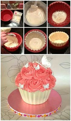 giant cupcake cakes Chocolate shell for giant cupcakes Big Cupcake, Giant Cupcake Cakes, Mini Cakes, Giant Cupcake Recipes, Cup Cakes, Cupcake Ideas, Giant Cake, Cupcake Birthday Cake, Food Cakes