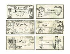 Antique Calendar Typography - Digital Download by KnickofTime on Etsy, $4.00