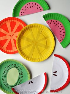 Paper Plate Fruit- crafts for kids - Crafts by Amanda Kids Crafts, Paper Plate Crafts For Kids, Summer Crafts For Kids, Daycare Crafts, Toddler Crafts, Diy For Kids, Craft Projects, Arts And Crafts, Paper Crafts