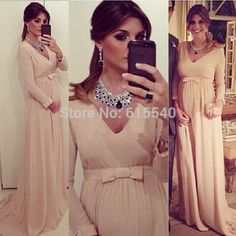 Gasa una línea 2015 vestidos noche con mangas largas de nueva elegante cuello en V de maternidad ropa de embarazada Sash Bow ocasión especial
