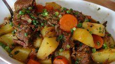 Receita de carne de panela com cenouras e batatas