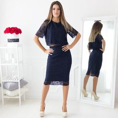 Delorra Lace Navy Set 💞 • 44.00€ • Search: 🔎 top - 44160, skirt -44161 • Navy #imagofashion #navylaceset